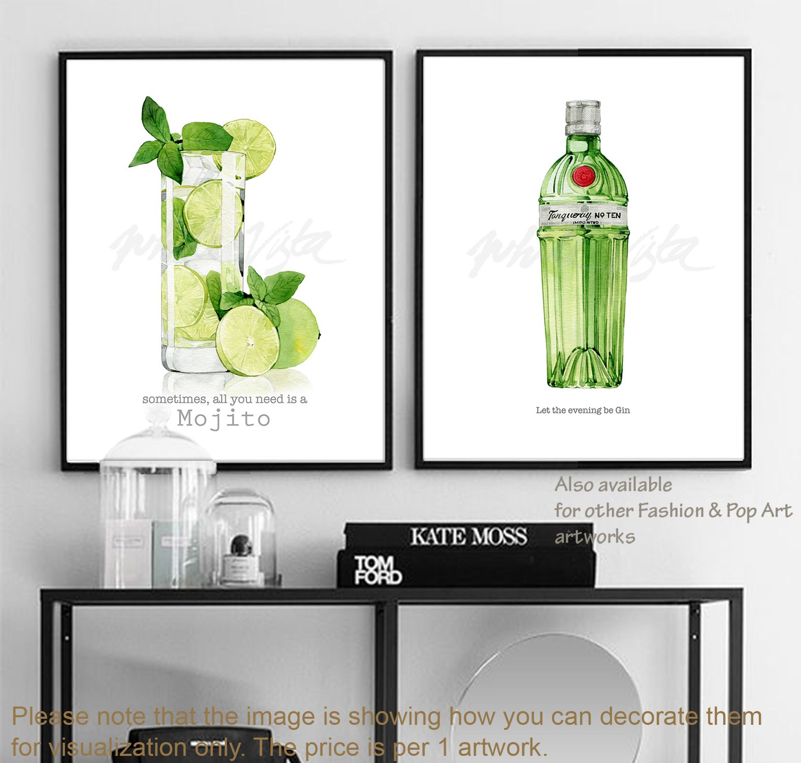 Cocktail Wall Art Cocktail Art Poster Wall Art Fashion Illustration Watercolor