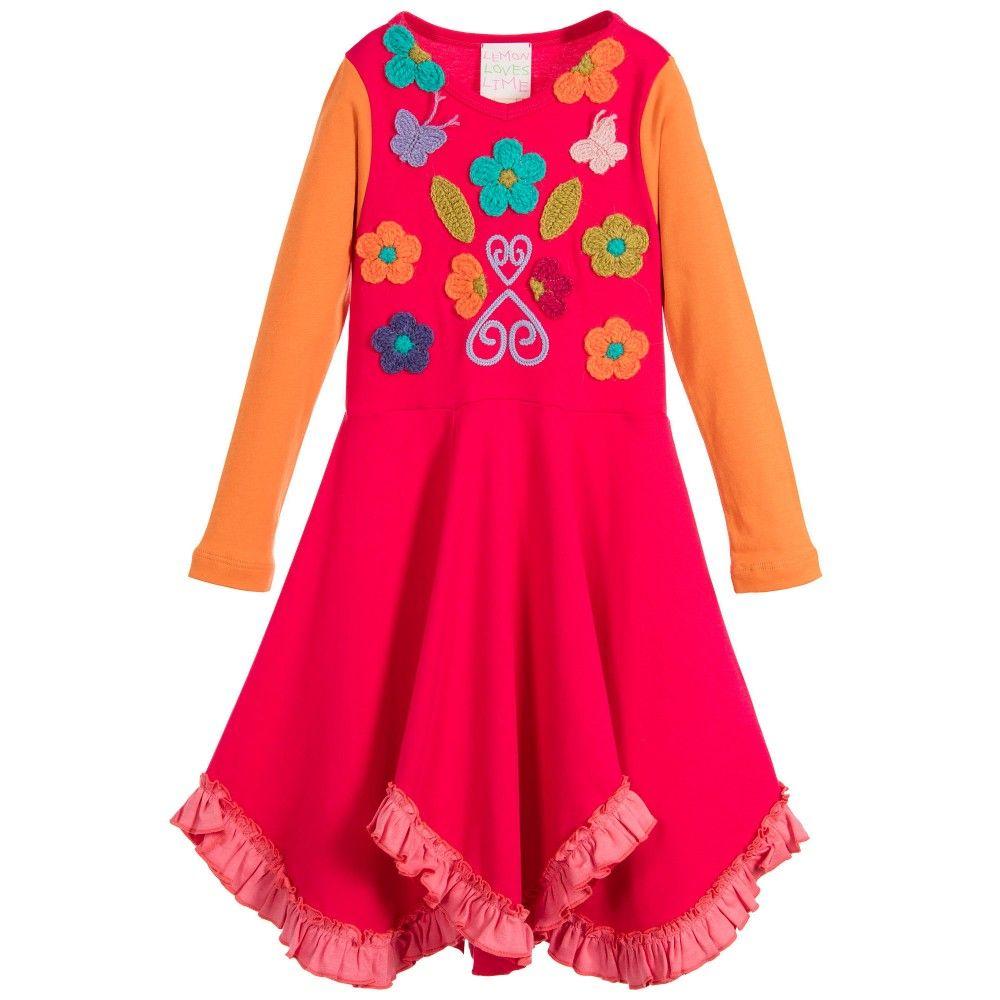 Lemon Loves Lime Girls Red & Orange 'Vivid Autumn' Dress at Childrensalon.com