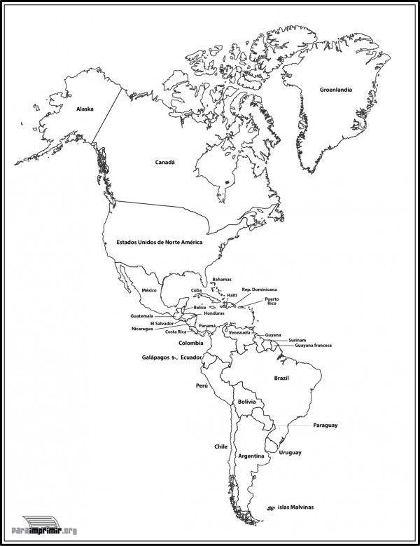 Resultado de imagen para mapa de las américas y sus paises en blanco ...