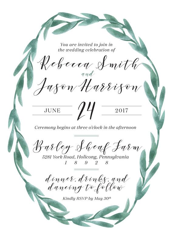 Garden vine wreath wedding invitation 5x7 green watercolor this listing includes 5x7 invitations on heavy high quality matte cardstock these rustic bohemian watercolor green garden wreath calligraphy style stopboris Images