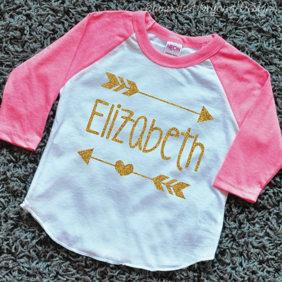 Hipster Baby Clothes Baby Girl Clothes Personalized Name Shirt Gold Glitter Arrow Custom Toddler Raglan Shirt by BumpAndBeyondDesigns