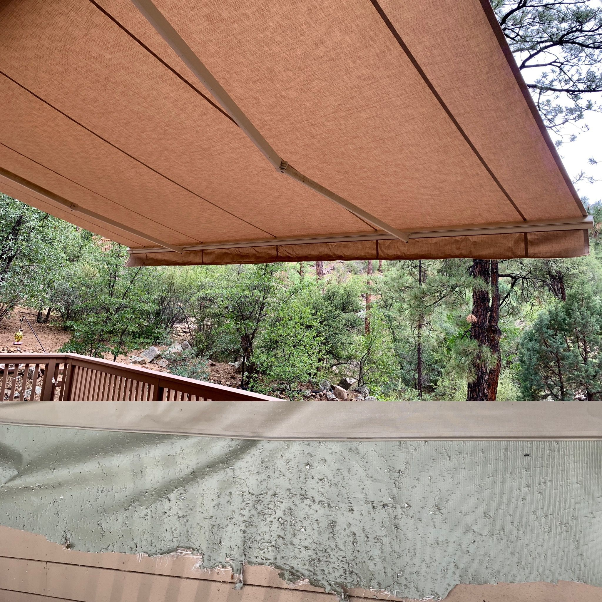 Awning Repair Prescott Az Before And After Fabric Repair With Images Custom Window Treatments Custom Blinds Woven Wood Shades