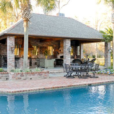 Pool Outdoor Kitchen Design, Pictures, Remodel, Decor and ... on Outdoor Kitchen With Pool Ideas id=42080