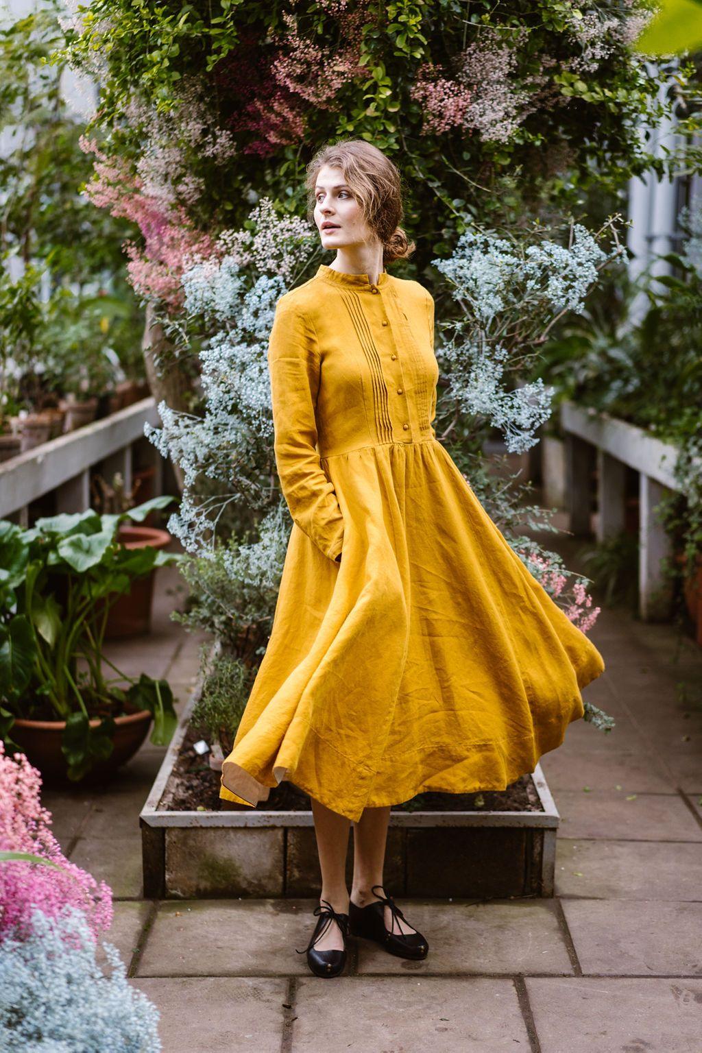 Elisa dress in Marigold Colour Linen dress women