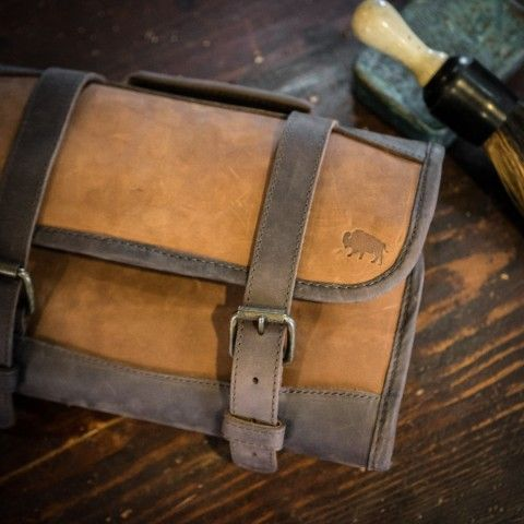 b33a4c5f99e Mens Leather and Waxed Canvas Dopp Kit  Riverton Brown Canvas ...
