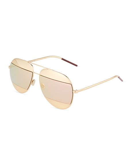 4517069dc36 DIOR Diorsplit Two-Tone Metallic Aviator Sunglasses