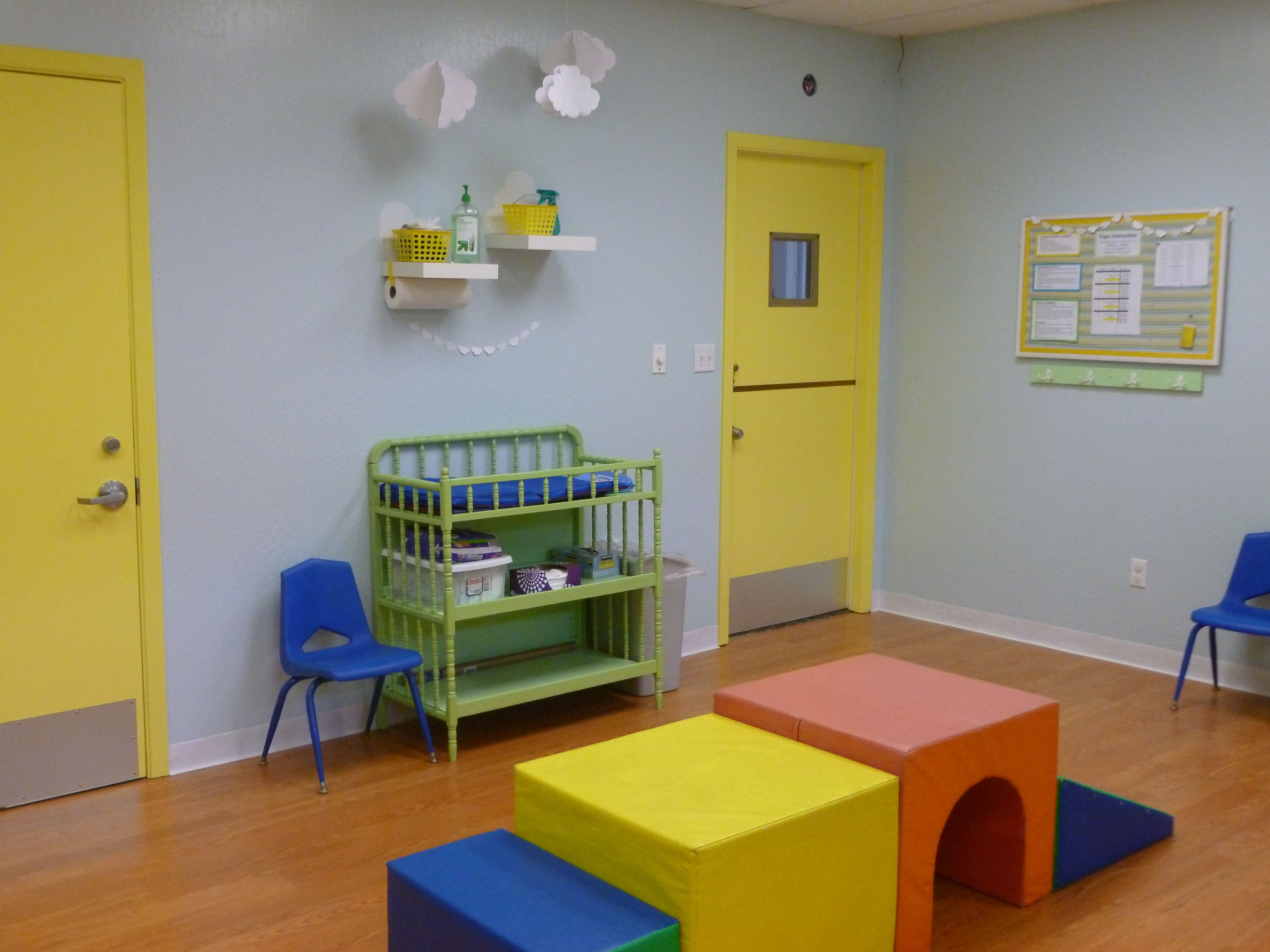 Church Nursery Reno  Painted Doors, Painted Changing Table, Bulletin