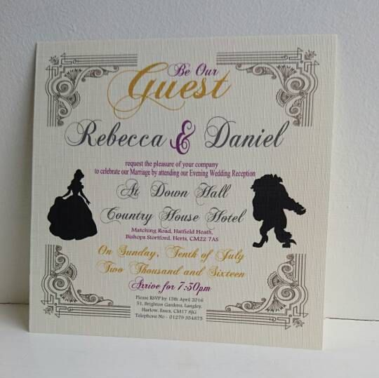 Sample Beauty And The Beast Wedding Evening Invite Envelope