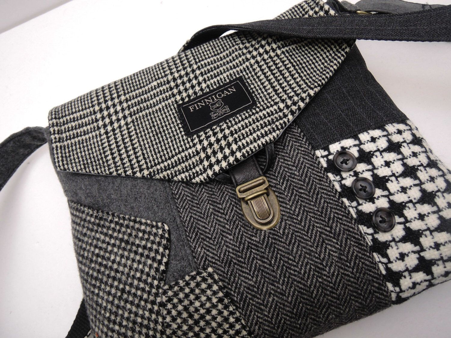 Crossbody Purse, iPhone pocket, Recycled mens suit coat, Black Gray Wool, Eco Friendly, Back to School, Tote bag, Ready to Ship by SewMuchStyle on Etsy https://www.etsy.com/listing/224526929/crossbody-purse-iphone-pocket-recycled