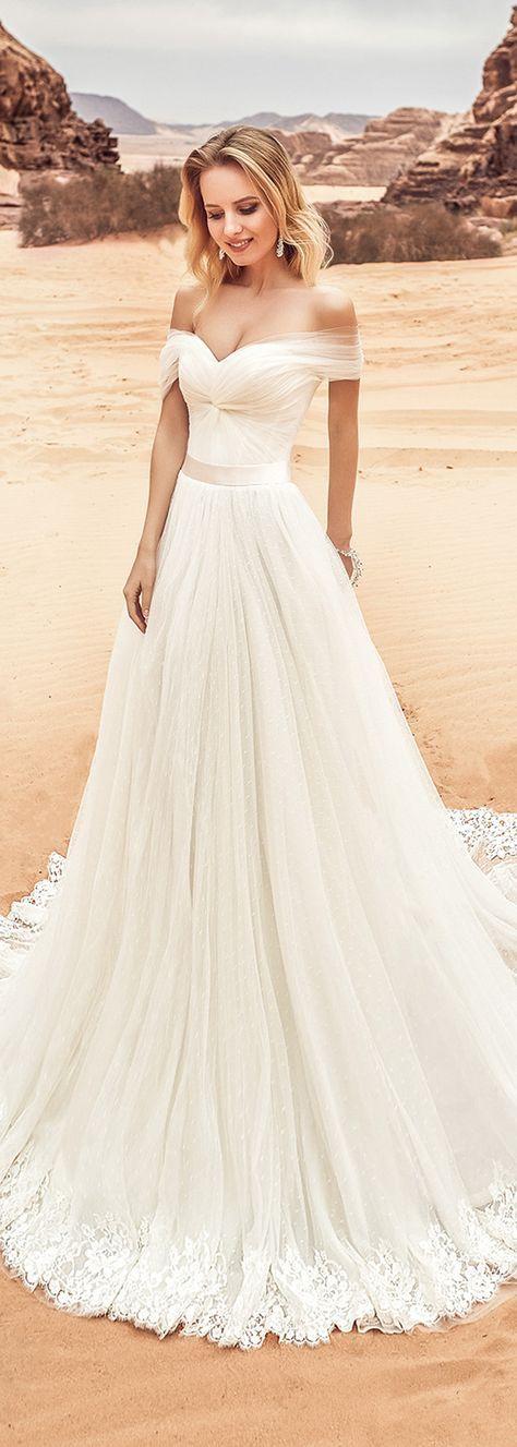 Fantastic Tulle Off The Shoulder Neckline A Line Wedding Dress With Lace Appliques