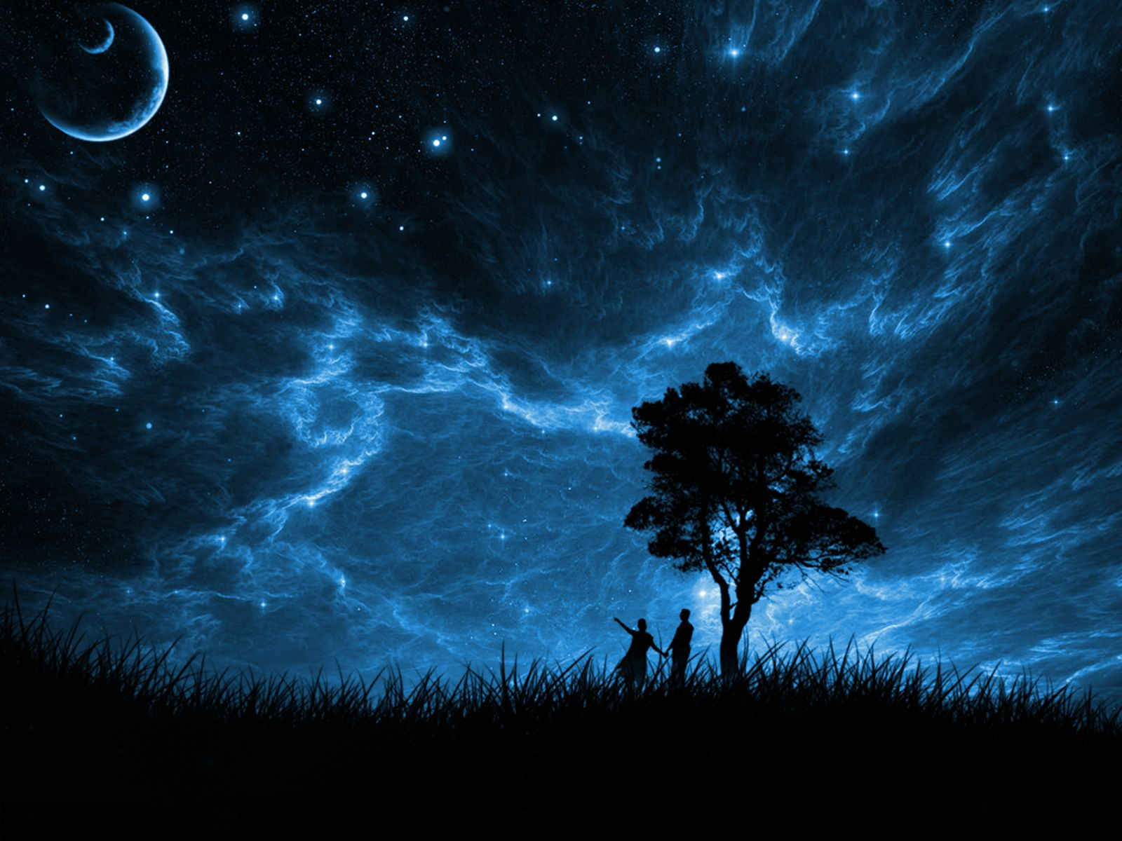 beautiful starry night sky with moon painting - Google ...
