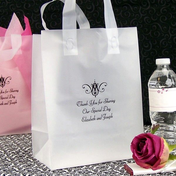Clear Frosted Gift Bag Personalized With Black Imprint Color S26 Scroll Design And Three Wedding Guest