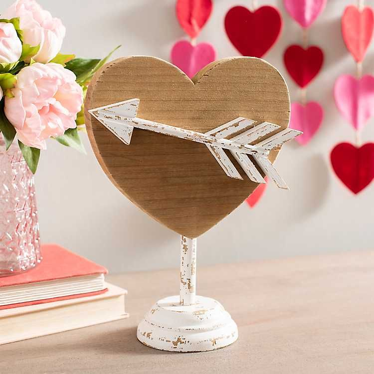 Wooden Cupid S Heart On White Stand In 2020 Valentine Decorations Wooden Hearts Crafts Valentines Day Decorations