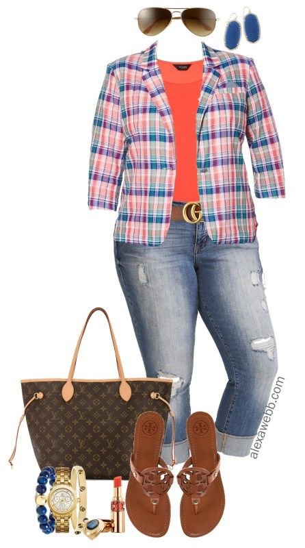Photo of Plus Size Plaid Blazer Outfit – Alexa Webb
