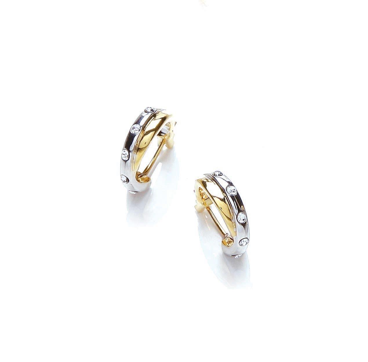 Two Tone Crystal Hoop Earrings Jewellery Pinterest