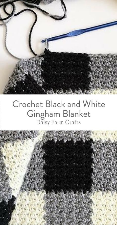 Free Pattern - Crochet Black and White Gingham Blanket | afghans