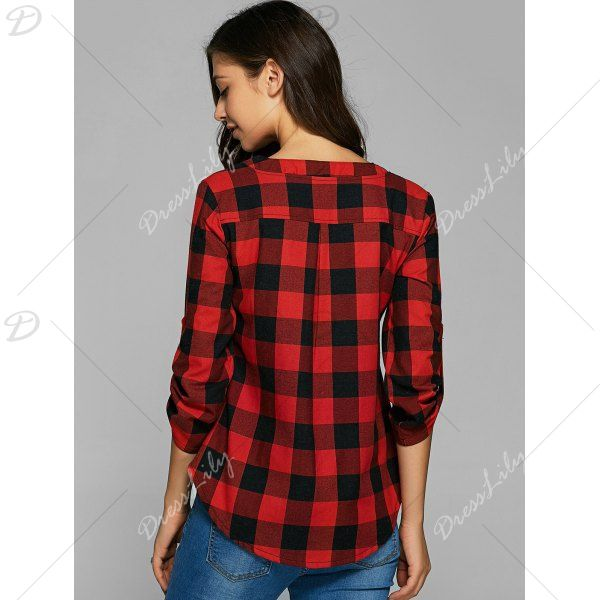 3/4 Sleeves Plaid Loose-Fitting Blouse, RED, L in Blouses | DressLily.com