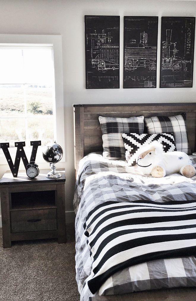 Best Boy S Room Buffalo Check Black And White Blueprint 640 x 480