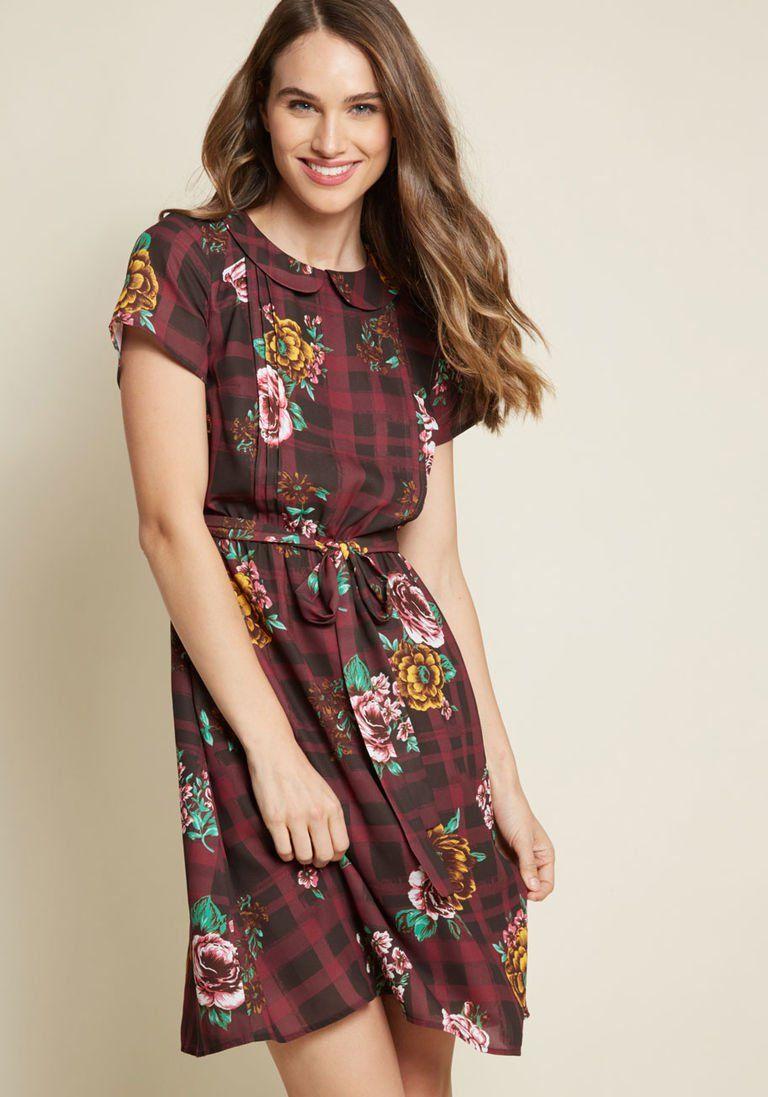 Joyfully Poised Collared Dress In Print Mix