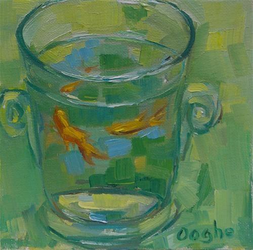 "Original Fine Art For Sale: ""Goldfish On Green"""