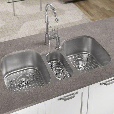 Houzer Premiere Gourmet 41 L X 22 W Top Mount Triple Bowl Kitchen Sink Wayfair In 2021 Undermount Kitchen Sinks Sink Kitchen Sink