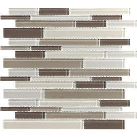 Toffee Linear Gl Mosaic Wall Tile Common 12 In X