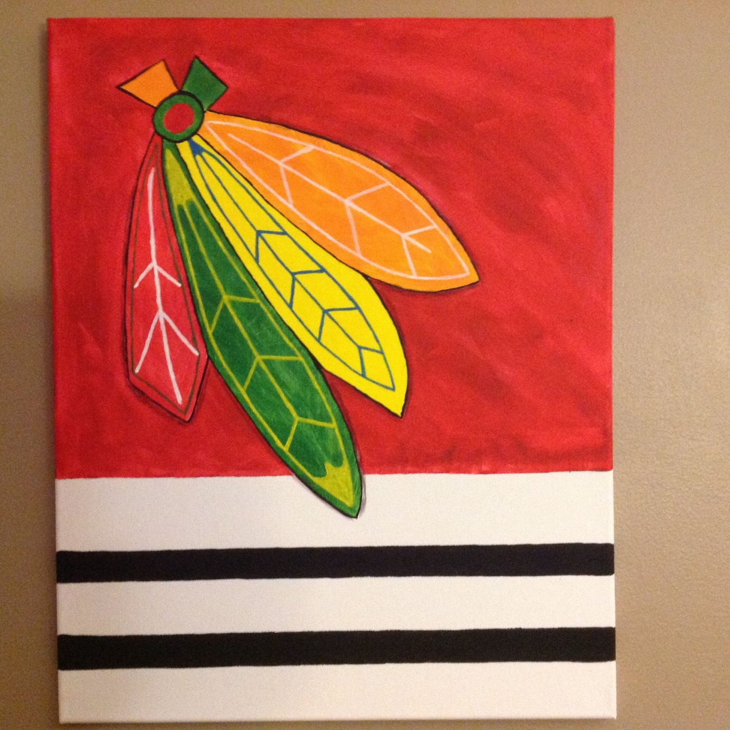 Chicago Blackhawks Feathers Canvas Painting