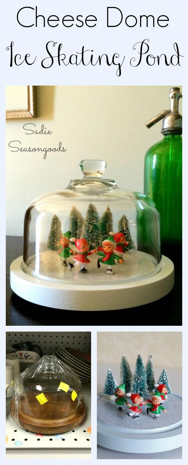 Creating a winter scene under a thrift store cheese dome? Nothing new. But creating a frozen ice skating pond, straight from a vintage postcard or Currier & Ives? Now THAT'S new! Such a unique Christmas decoration and a darling way to upcycle or repurpose that old cheese dome (or cloche?). Vintage bottlebrush trees and adorable ice skater figurines really make this come alive. #SadieSeasongoods #HomeforChristmas #vintagechristmas