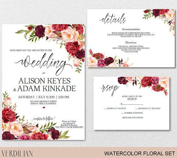Flowers Watercolor Burgundy Wedding Invitation Template Peonies