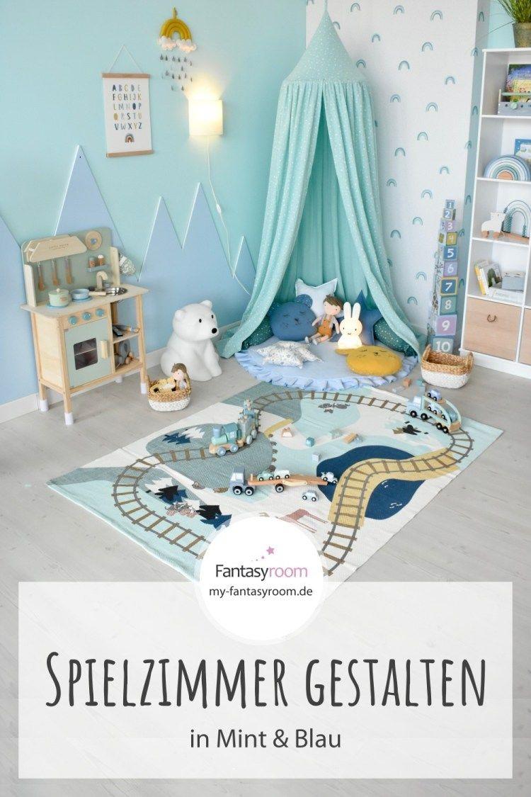 Kreatives Kinder Spielzimmer Für Jungen In Mint Blau Spielzimmer Einrichten Kinder Zimmer Kinder Spielzimmer