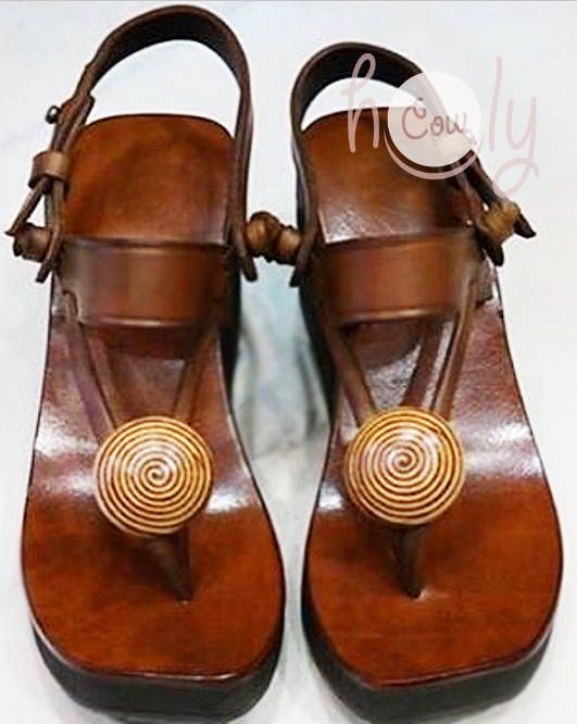 6e23117859b1 Handmade Brown Leather Platform Sandals Brown Leather