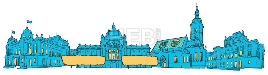 Zagreb Croatia Colored Panorama By Hebstreit Drawing Sketch Travel Pen Download Digital Vector Art Stockimage Hebstreit Zagreb Croatia Zagreb Croatia