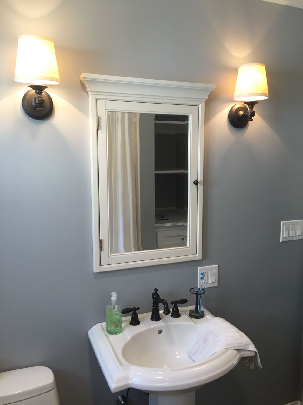 Sherwin williams monochrome blue gray paint pottery barn medicine cabinet restoration for Pottery barn bathroom paint colors