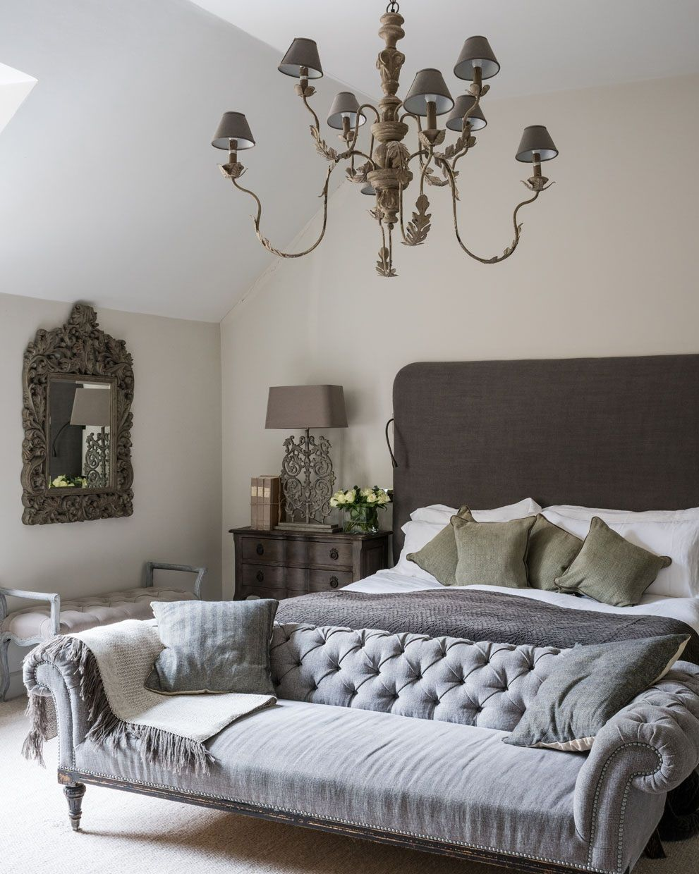 This Luxury Bedroom Sees An Upholstered Headboard Chez Lounge And