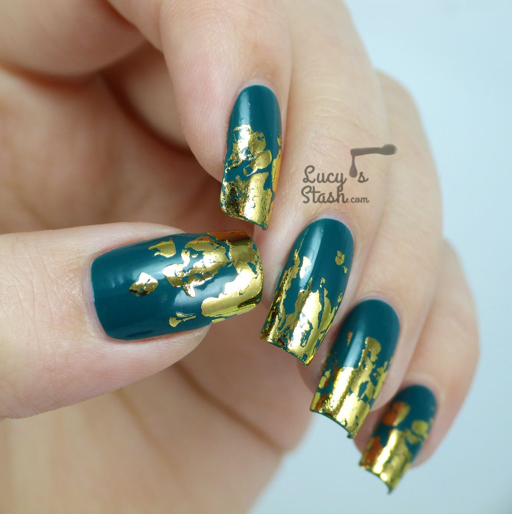 Distressed gold nail foil design with tutorial distressed gold nail foil design with tutorial prinsesfo Images