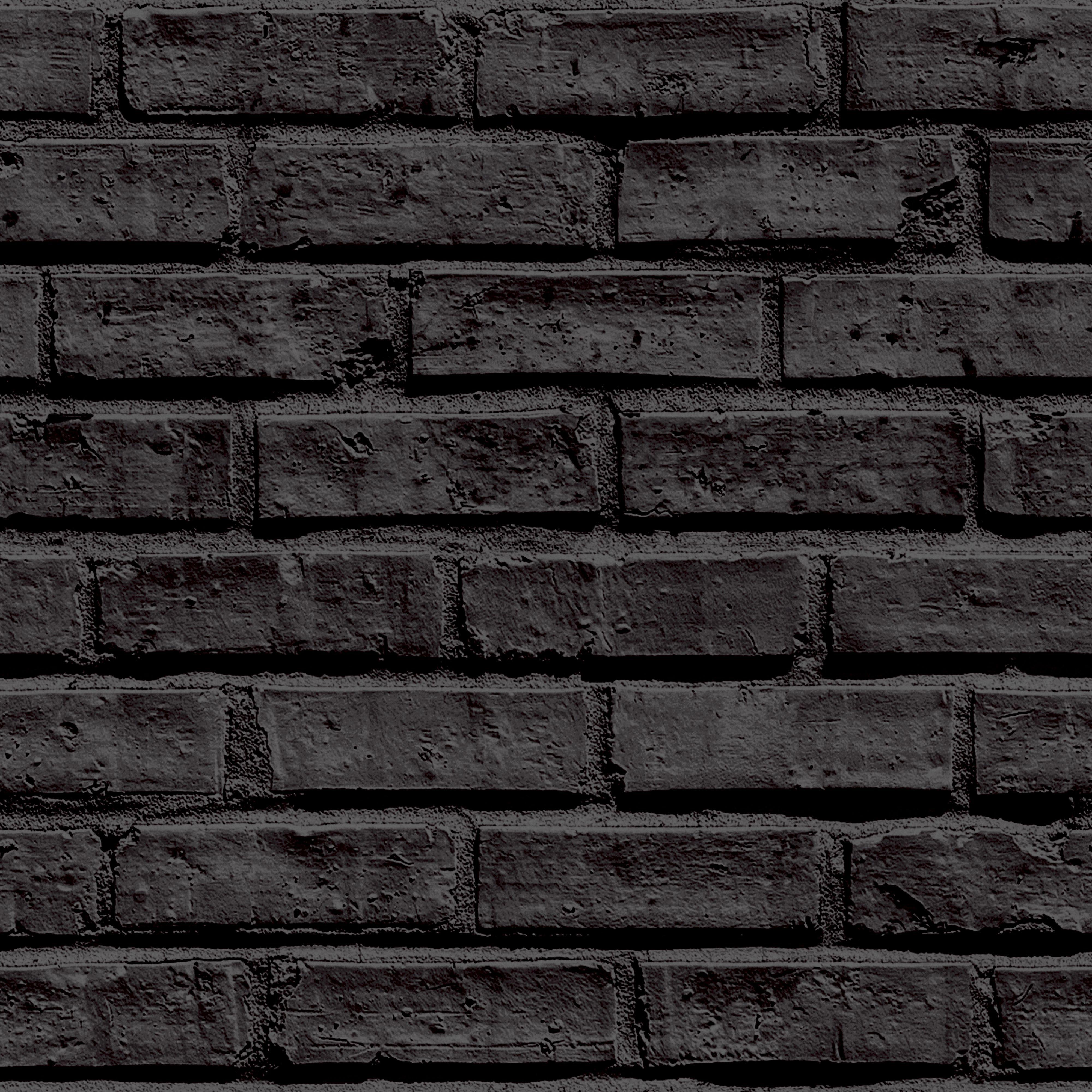 Arthouse Black Brickwork Wallpaper Departments Diy At B Q Black Brick Wallpaper Black Brick Black Brick Wall