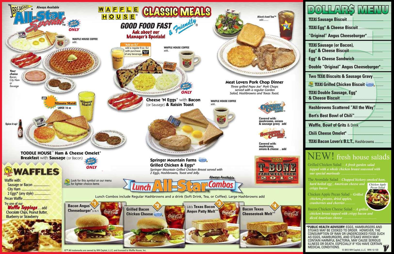 The Waffle House Menu Waffle House Menu Waffle House Food