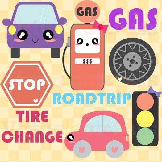 Cute Car Clipart- Gas Station Clip Art, Road Trip, Kawaii Car, Gas ...