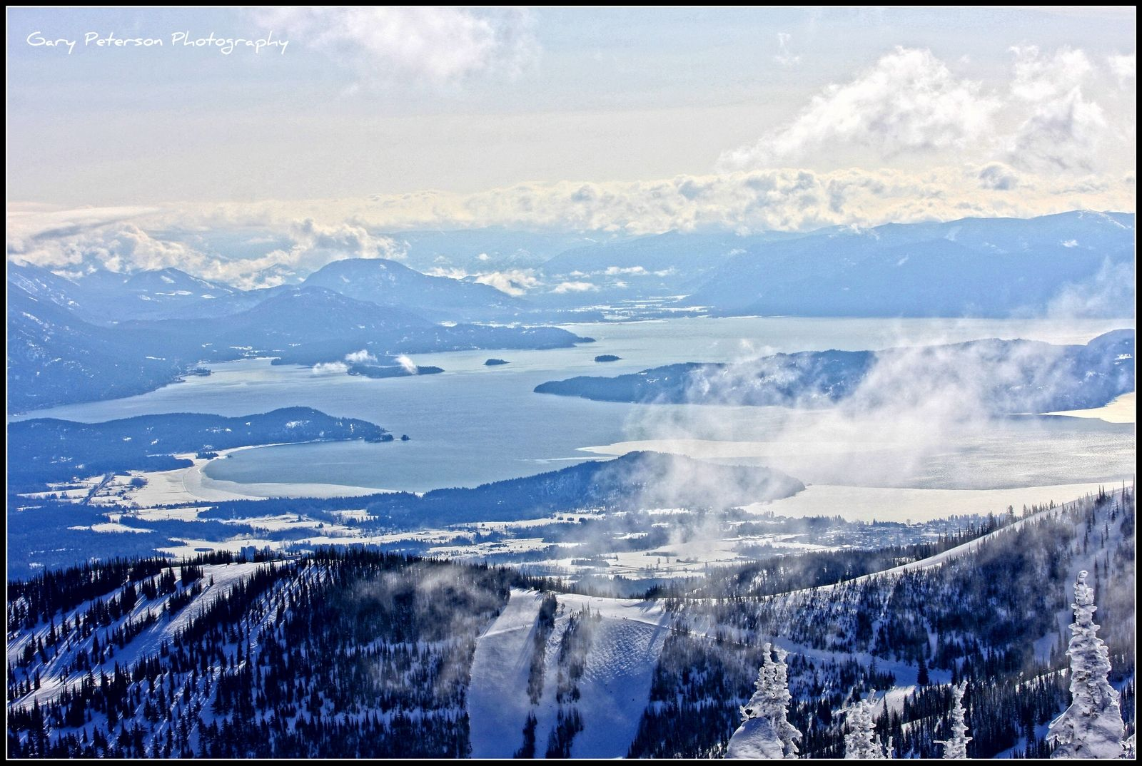Schweitzer Mountain Resort and Lake Pend Oreille from the backside...