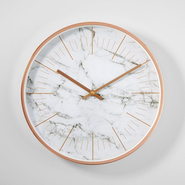 Rose Gold Border Simple Marble Wall Clock images