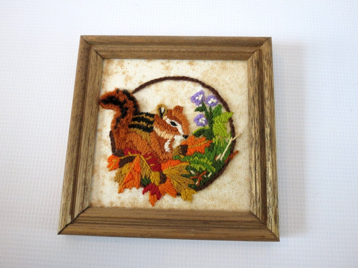 Vintage Crewel Picture Squirrel Wall Hanging Needlepoint Artwork 70s Decor 1970s Wall Hanging Art Crewel Art Woodland Animal by GoodLuxeVintage on Etsy