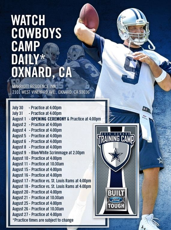 23abef484fe 2015-2016 Dallas Cowboys Training Camp schedule - The Boys Are Back website  2015
