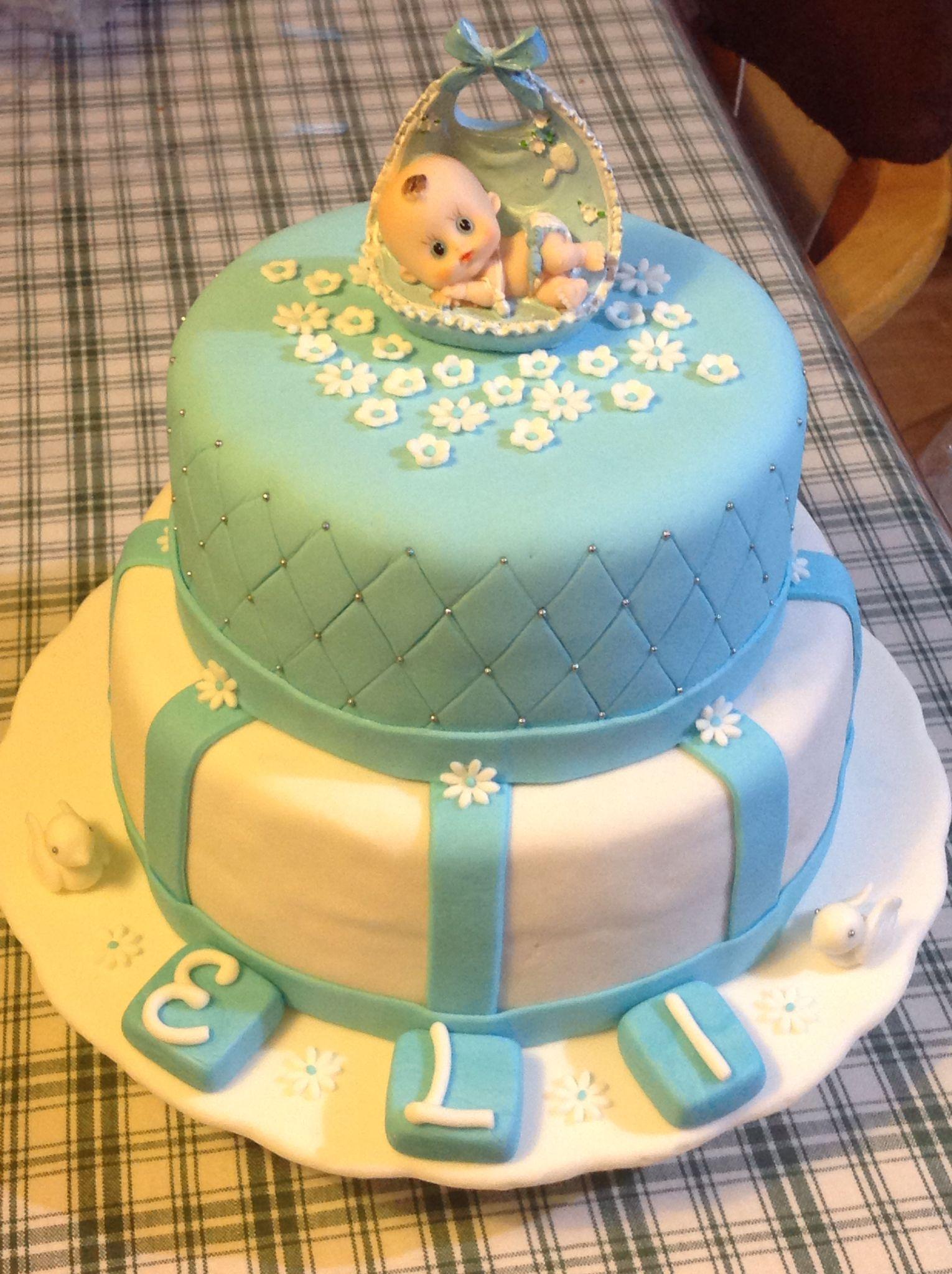 Keke inglsfondant torta de bautizo tortas Pinterest