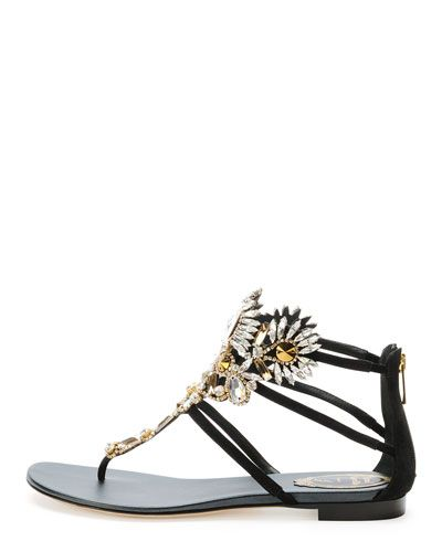 X2AXX Rene Caovilla Chandelier Crystal Thong Sandal, Black   shoe ...