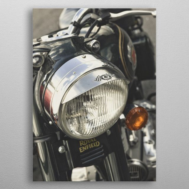 Photo of Close up of a Royal Enfield mo… Abstract Poster Print | metal posters – Displate