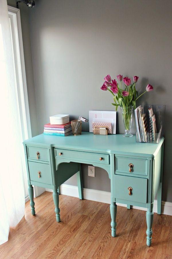 Turquoise Desk Antique Desk Home Decor Furniture Makeover