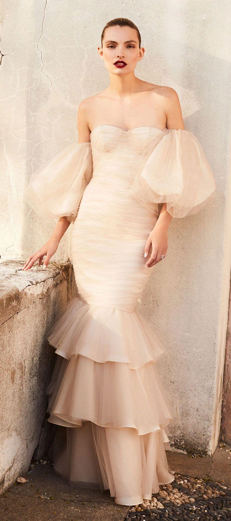 Johanna Ortiz Wedding Dress off-the-shoulder neckline, puff sleeves mermaid wedding gown silk crepe de chine #wedding #weddings #weddinggown