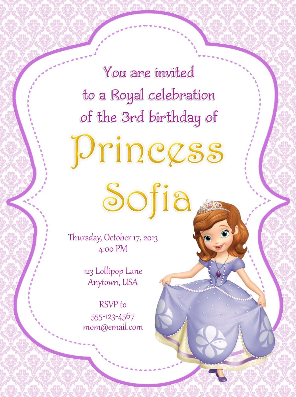 Sofia the first party invitations to inspire you how to make the ...