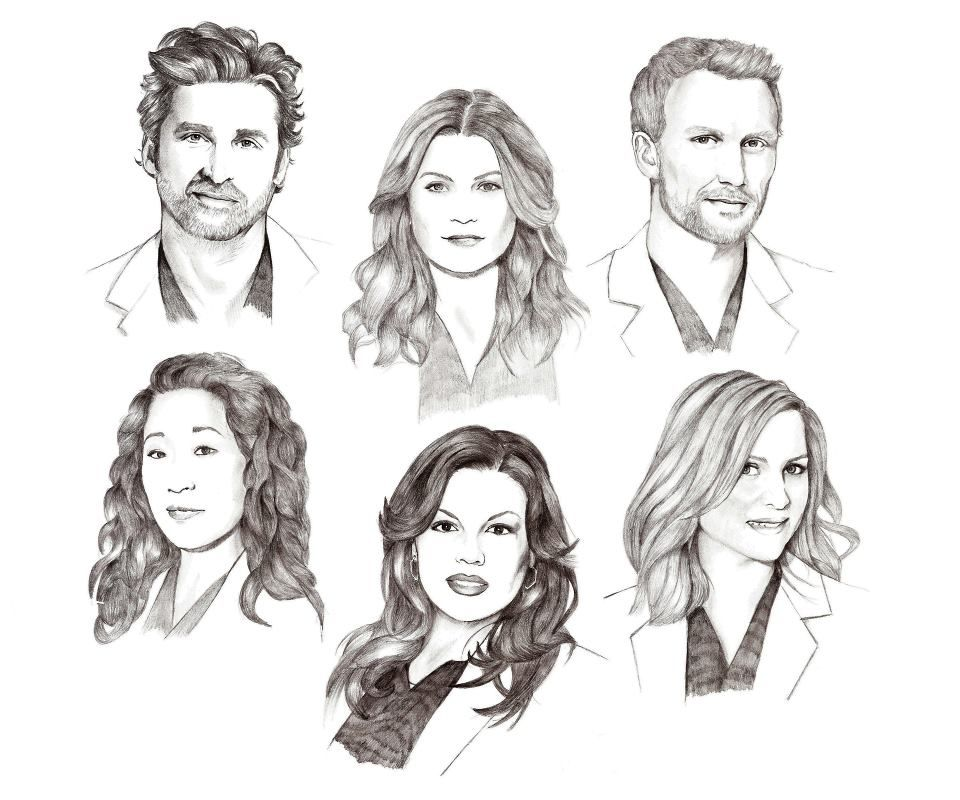 Derek Shepherd, Meredith Grey, Owen Hunt, Cristina Yang, Callie ...