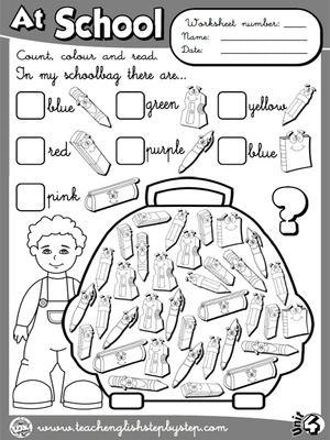 At School - Worksheet 8 (B&W version)   English   Pinterest ...